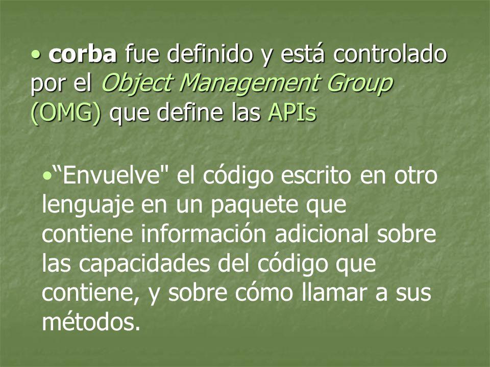 corba fue definido y está controlado por el Object Management Group (OMG) que define las APIs