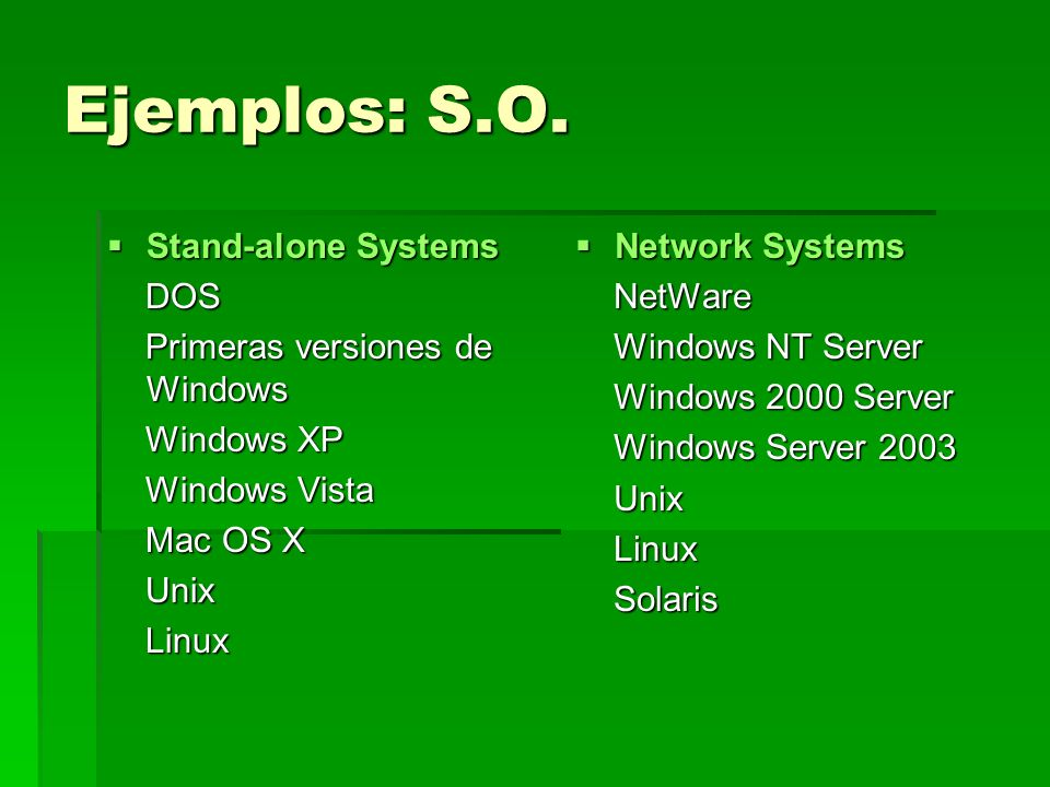 Ejemplos: S.O. Stand-alone Systems DOS Primeras versiones de Windows