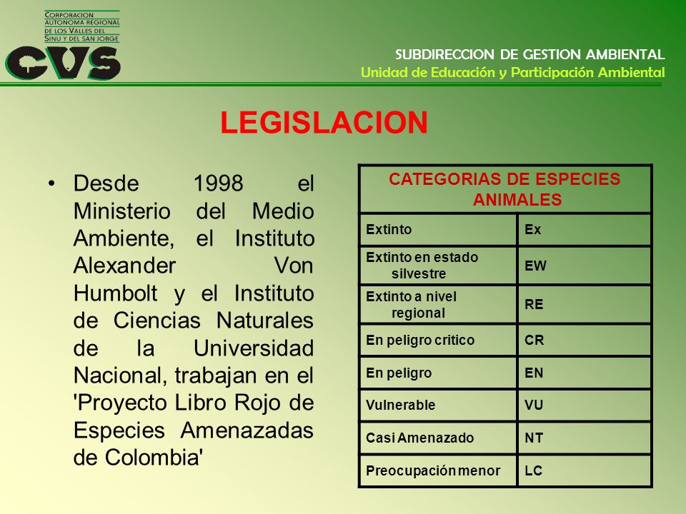 CATEGORIAS DE ESPECIES ANIMALES