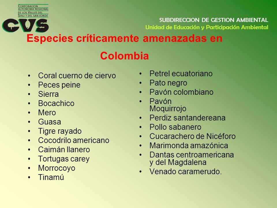 Especies críticamente amenazadas en Colombia