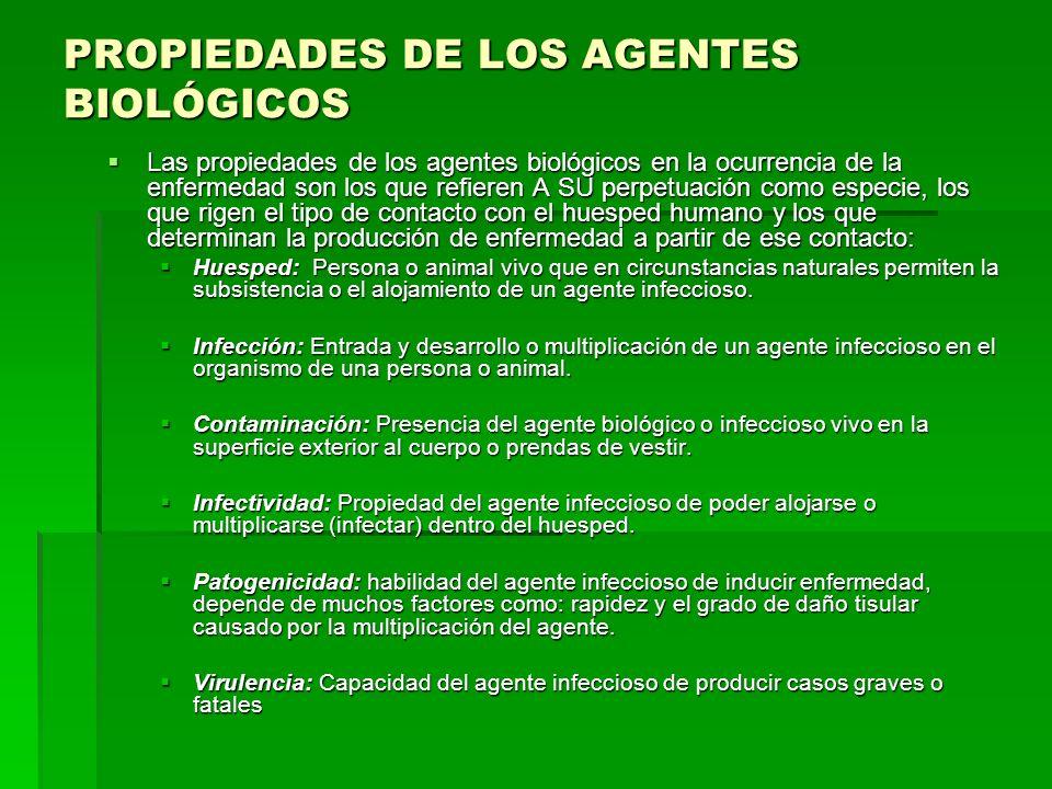 PROPIEDADES DE LOS AGENTES BIOLÓGICOS