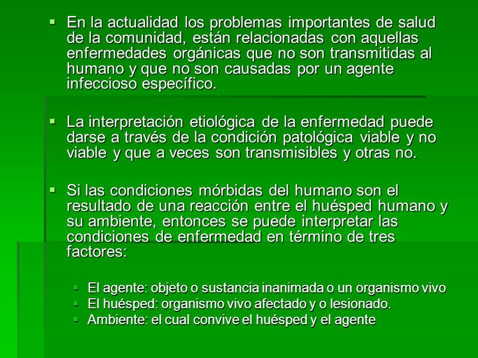 En la actualidad los problemas importantes de salud de la comunidad, están relacionadas con aquellas enfermedades orgánicas que no son transmitidas al humano y que no son causadas por un agente infeccioso específico.