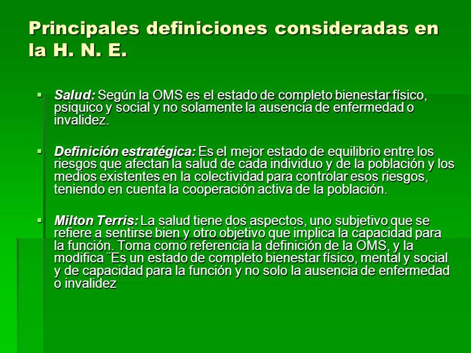 Principales definiciones consideradas en la H. N. E.