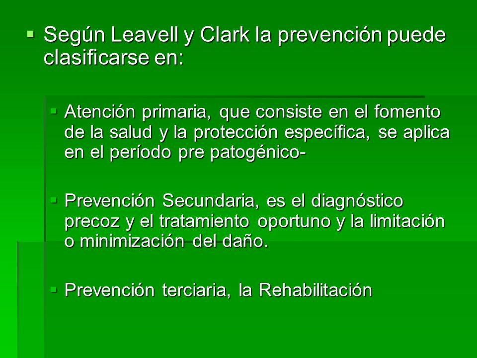 Según Leavell y Clark la prevención puede clasificarse en: