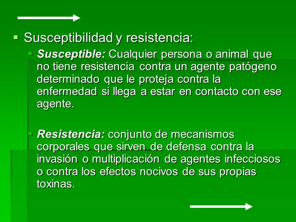 Susceptibilidad y resistencia: