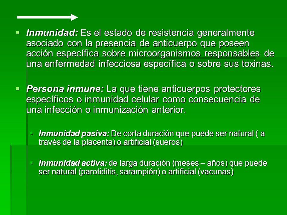 Inmunidad: Es el estado de resistencia generalmente asociado con la presencia de anticuerpo que poseen acción específica sobre microorganismos responsables de una enfermedad infecciosa específica o sobre sus toxinas.