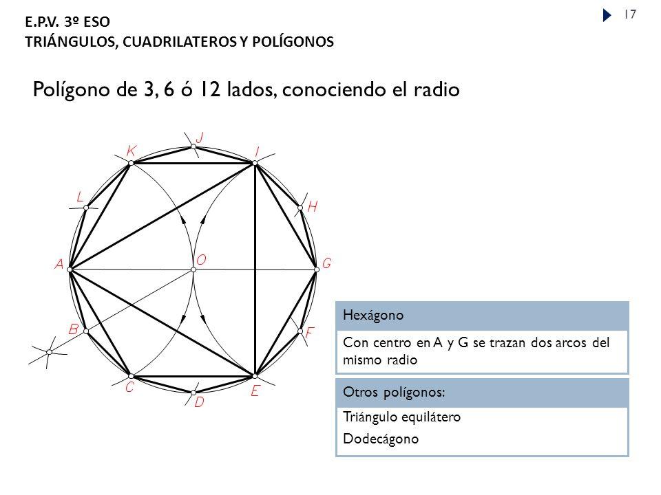 Polígono de 3, 6 ó 12 lados, conociendo el radio