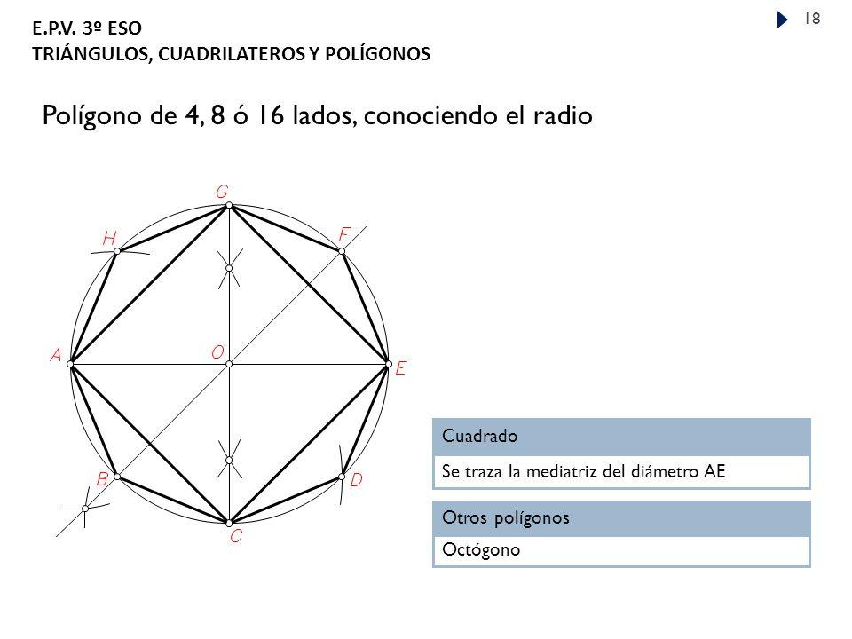Polígono de 4, 8 ó 16 lados, conociendo el radio
