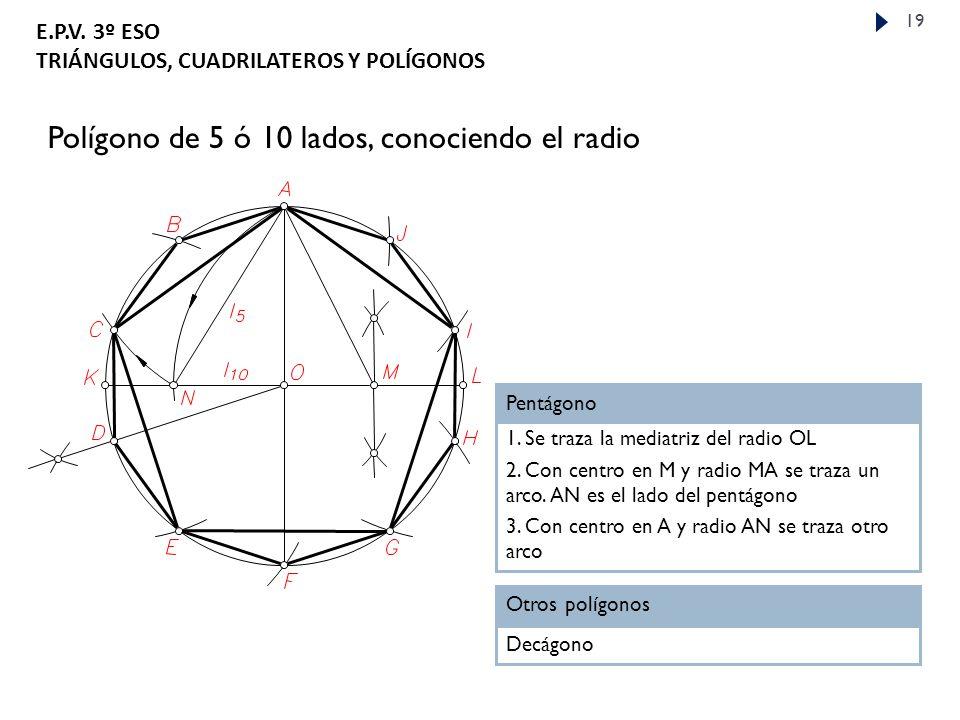 Polígono de 5 ó 10 lados, conociendo el radio