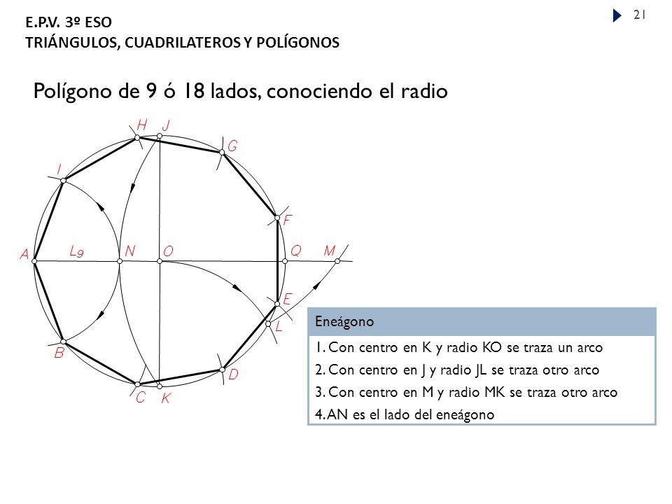 Polígono de 9 ó 18 lados, conociendo el radio