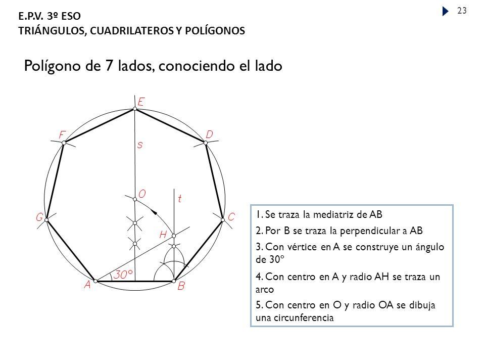 Polígono de 7 lados, conociendo el lado