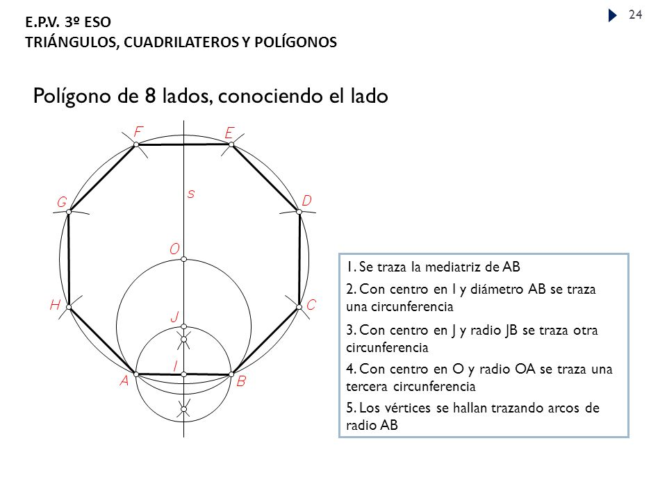 Polígono de 8 lados, conociendo el lado
