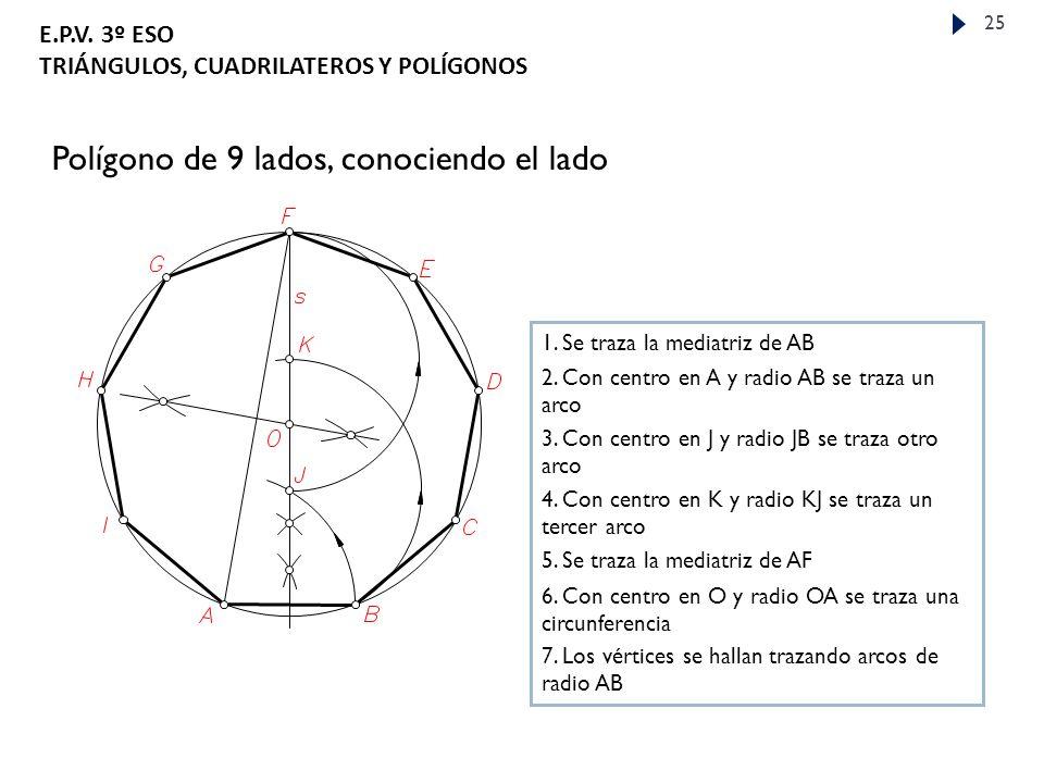 Polígono de 9 lados, conociendo el lado