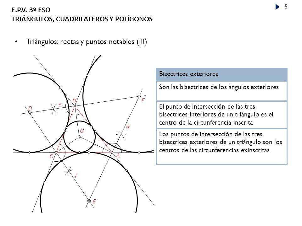 Triángulos: rectas y puntos notables (III)
