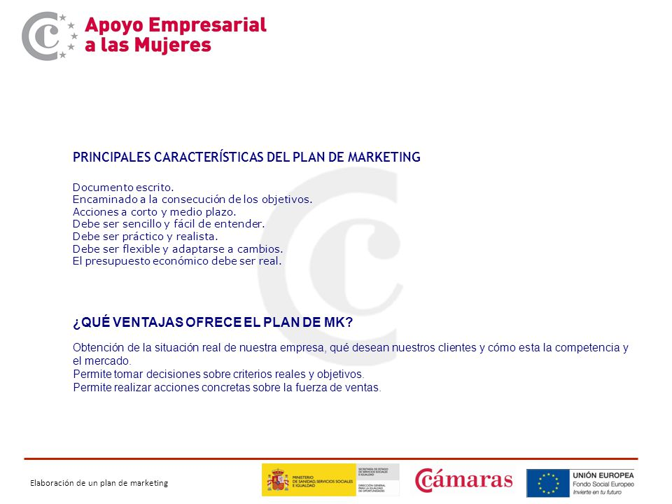 PRINCIPALES CARACTERÍSTICAS DEL PLAN DE MARKETING