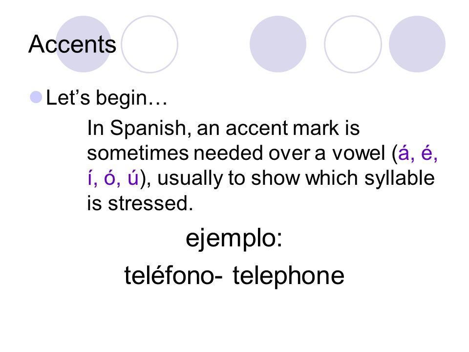 ejemplo: teléfono- telephone Accents Let's begin…
