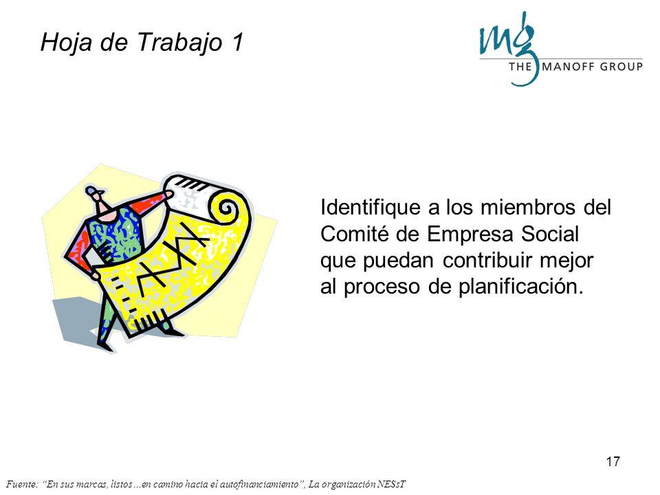 Hoja de Trabajo 1 Identifique a los miembros del Comité de Empresa Social que puedan contribuir mejor al proceso de planificación.
