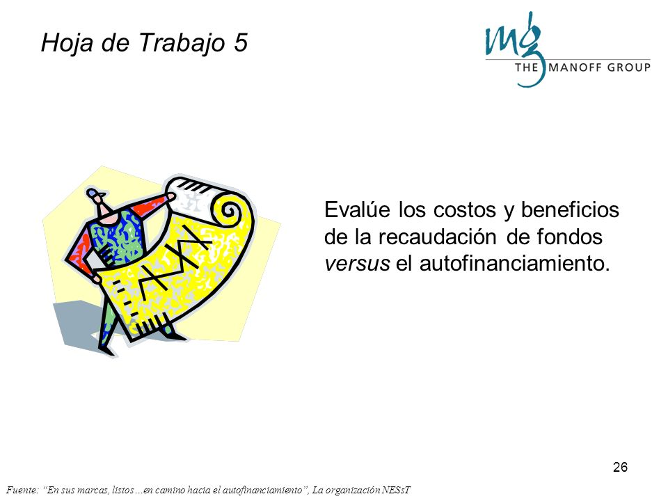 Hoja de Trabajo 5 Evalúe los costos y beneficios de la recaudación de fondos versus el autofinanciamiento.