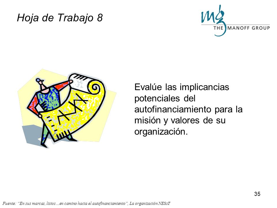 Hoja de Trabajo 8 Evalúe las implicancias potenciales del autofinanciamiento para la misión y valores de su organización.