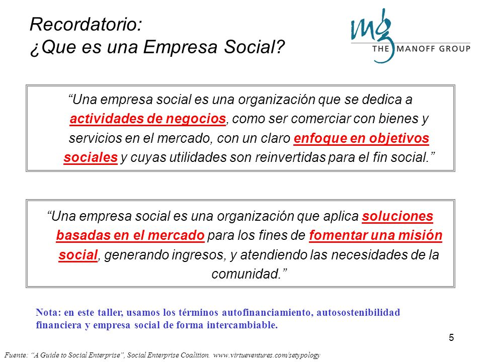Recordatorio: ¿Que es una Empresa Social