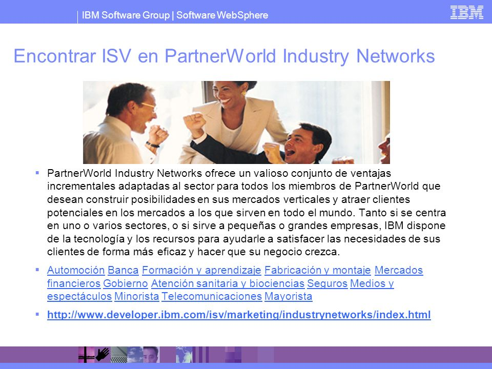 Encontrar ISV en PartnerWorld Industry Networks