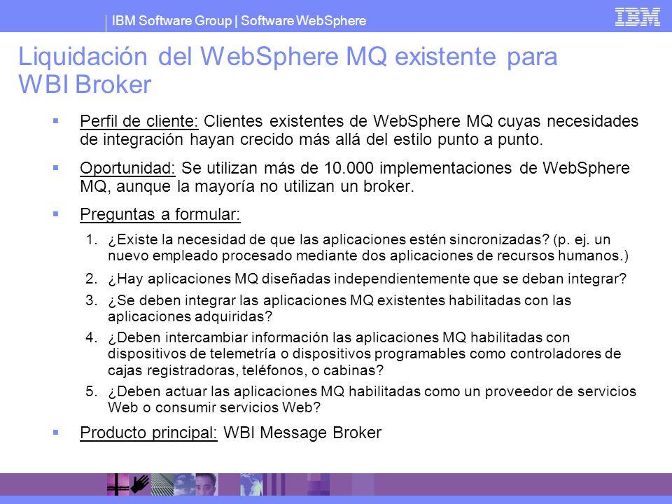 Liquidación del WebSphere MQ existente para WBI Broker