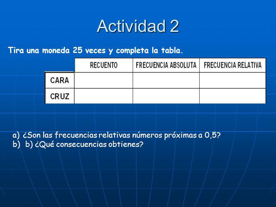Actividad 2 Tira una moneda 25 veces y completa la tabla.