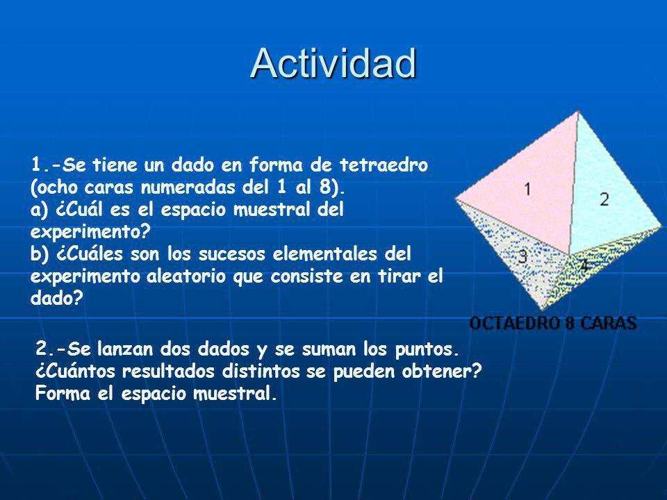 Actividad 1.-Se tiene un dado en forma de tetraedro (ocho caras numeradas del 1 al 8). a) ¿Cuál es el espacio muestral del experimento