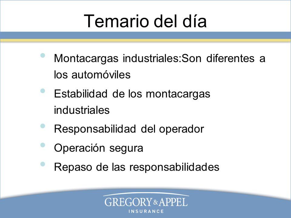 Temario del día Montacargas industriales:Son diferentes a los automóviles. Estabilidad de los montacargas industriales.