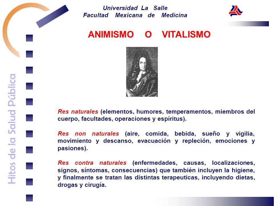 ANIMISMO O VITALISMO Res naturales (elementos, humores, temperamentos, miembros del cuerpo, facultades, operaciones y espíritus).