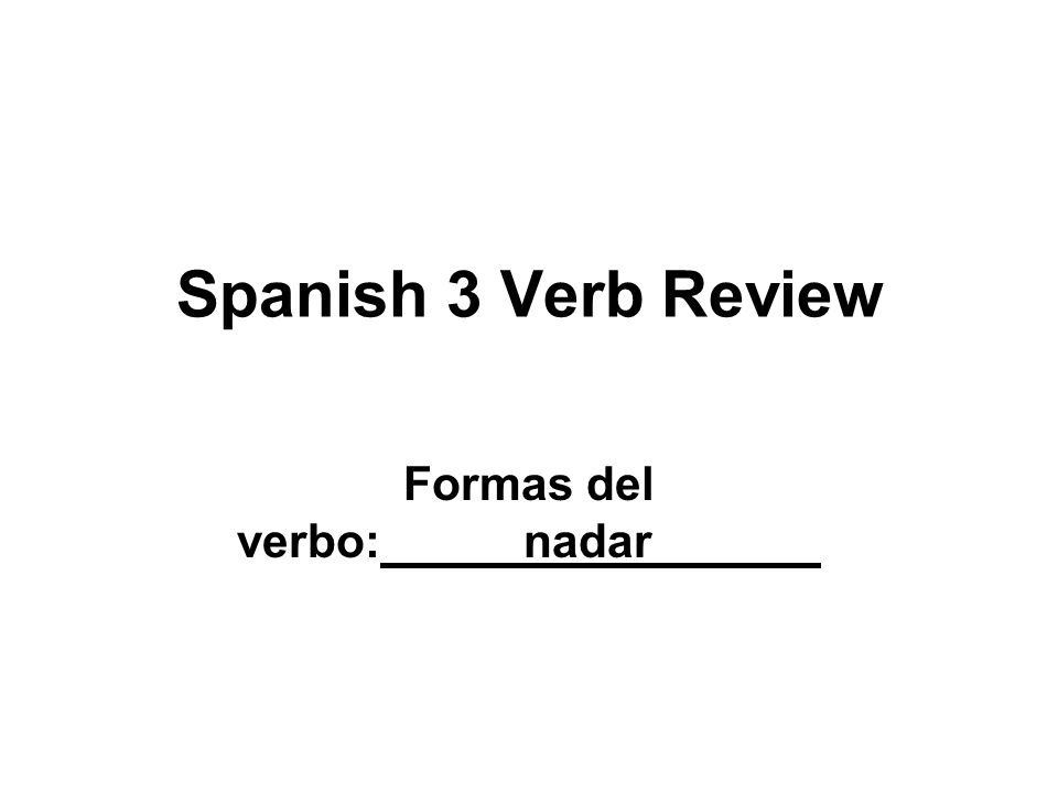Formas del verbo: nadar