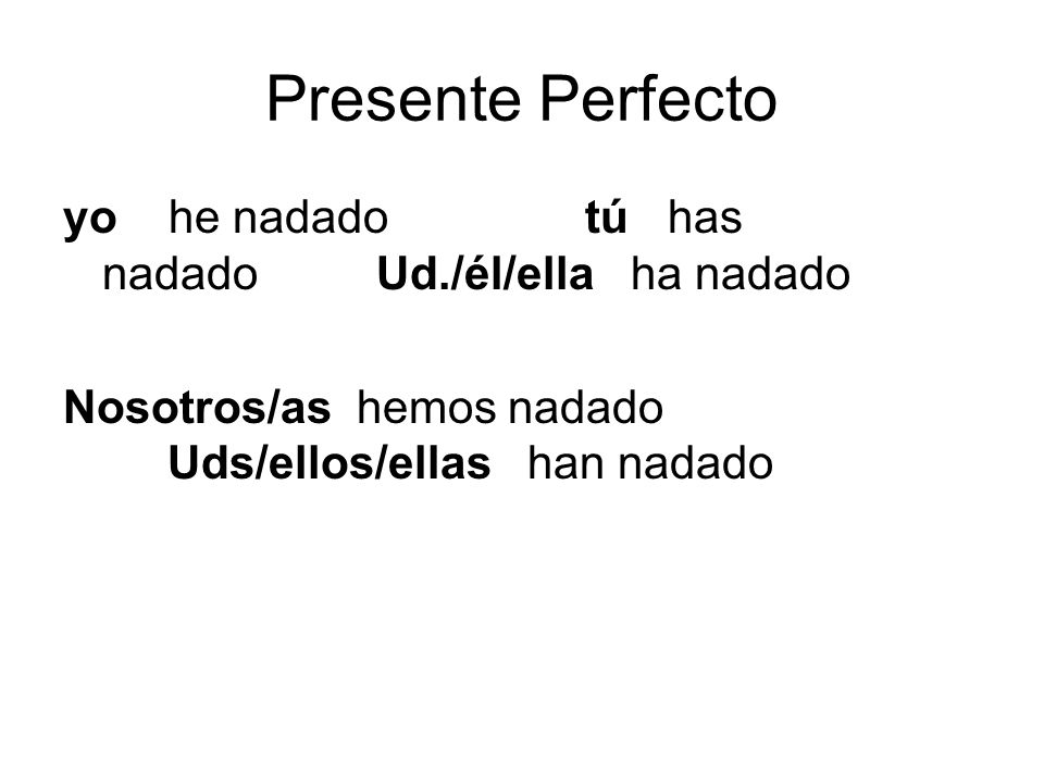 Presente Perfecto yo he nadado tú has nadado Ud./él/ella ha nadado