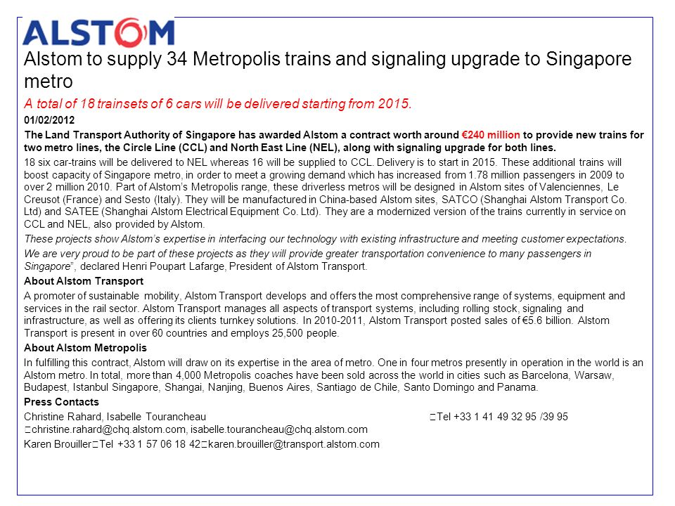 Alstom to supply 34 Metropolis trains and signaling upgrade to Singapore metro