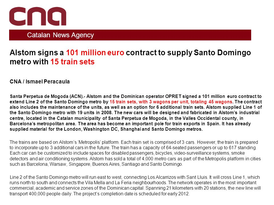 Alstom signs a 101 million euro contract to supply Santo Domingo metro with 15 train sets