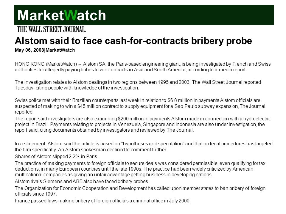MarketWatch Alstom said to face cash-for-contracts bribery probe