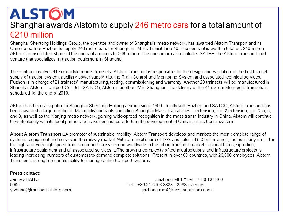 Shanghai awards Alstom to supply 246 metro cars for a total amount of €210 million