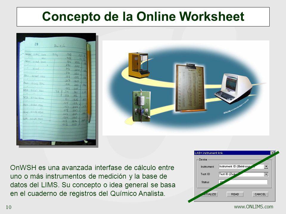 Concepto de la Online Worksheet