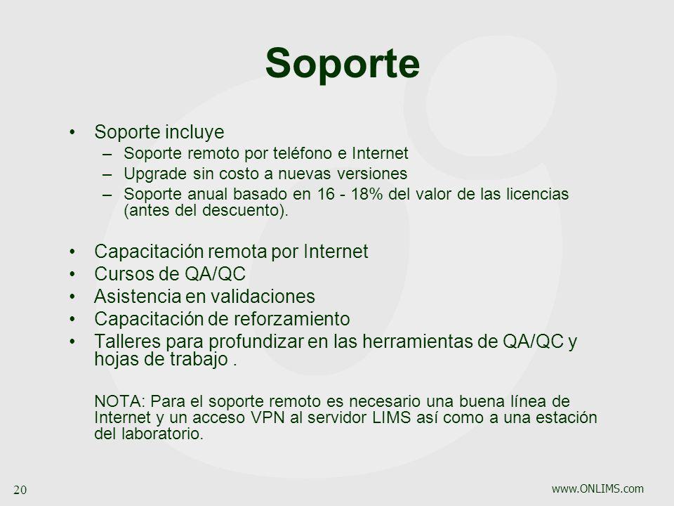 Soporte Soporte incluye Capacitación remota por Internet