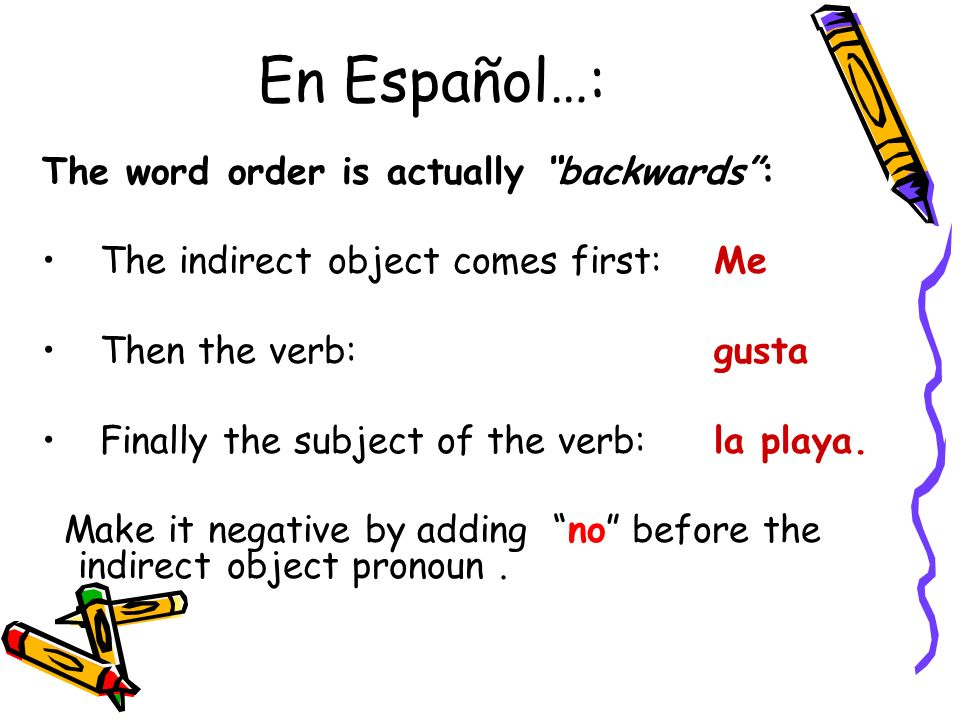 En Español…: The word order is actually backwards :