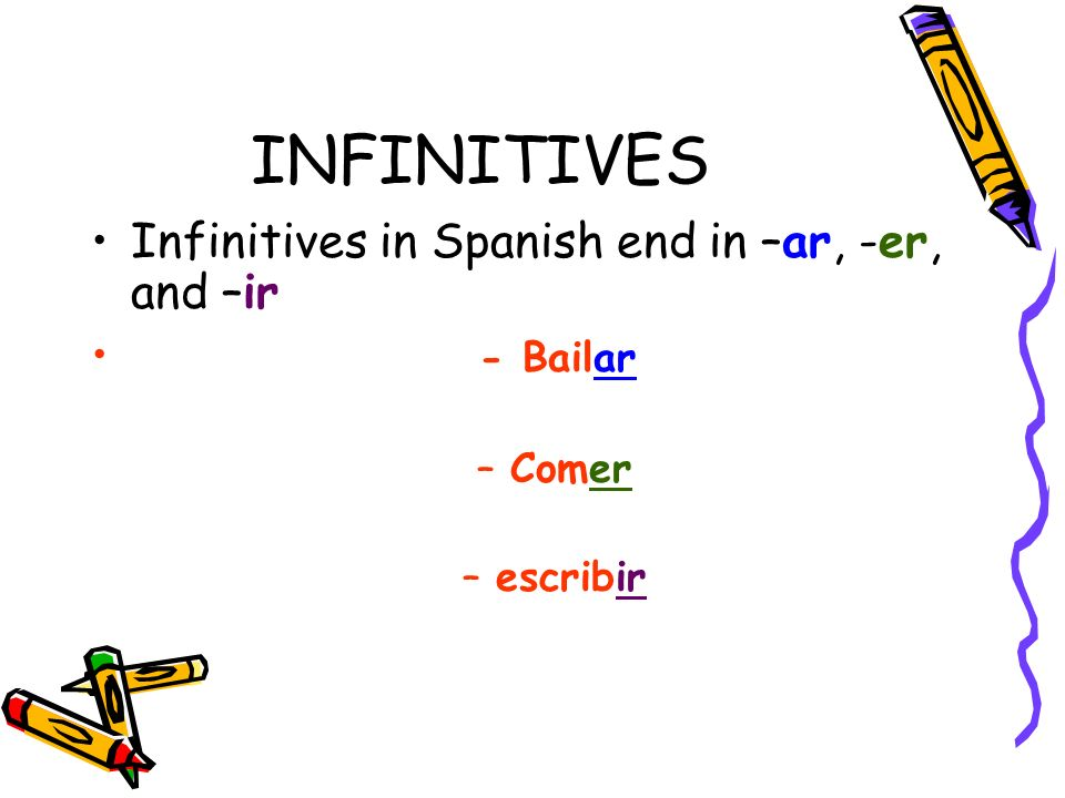 INFINITIVES Infinitives in Spanish end in –ar, -er, and –ir - Bailar