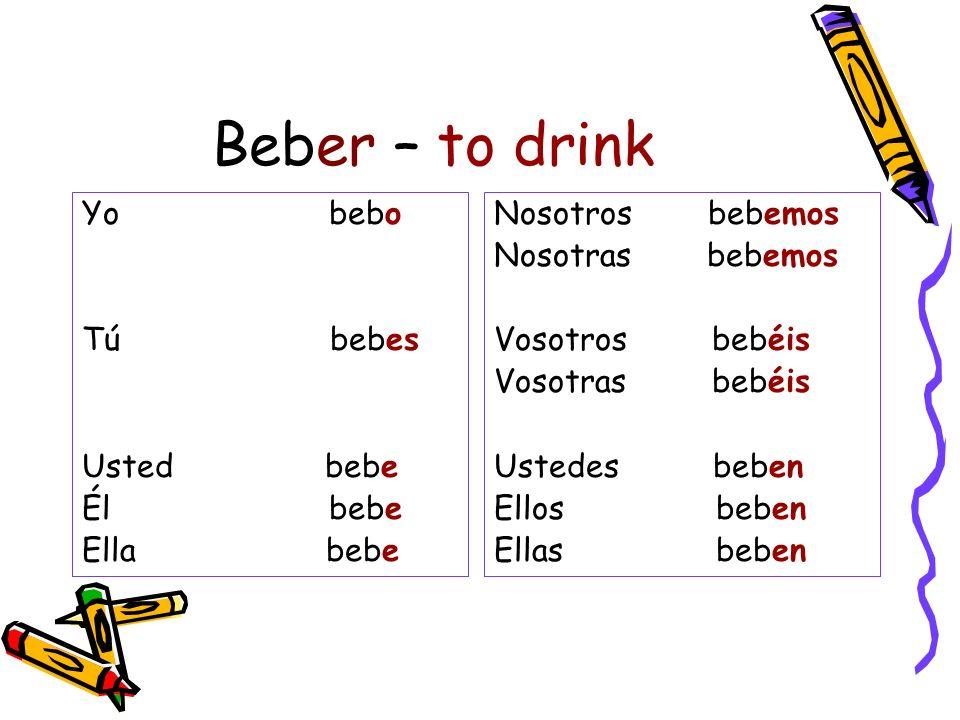 Beber – to drink Yo bebo Tú bebes Usted bebe Él bebe Ella bebe