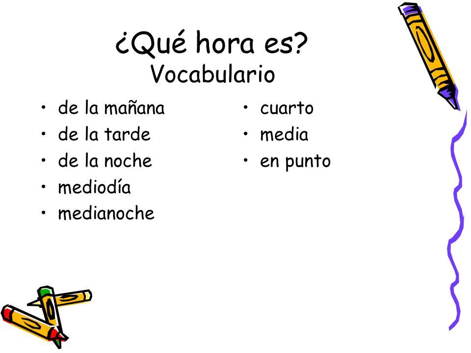 ¿Qué hora es Vocabulario