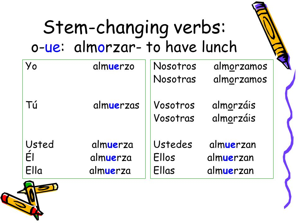 Stem-changing verbs: o-ue: almorzar- to have lunch