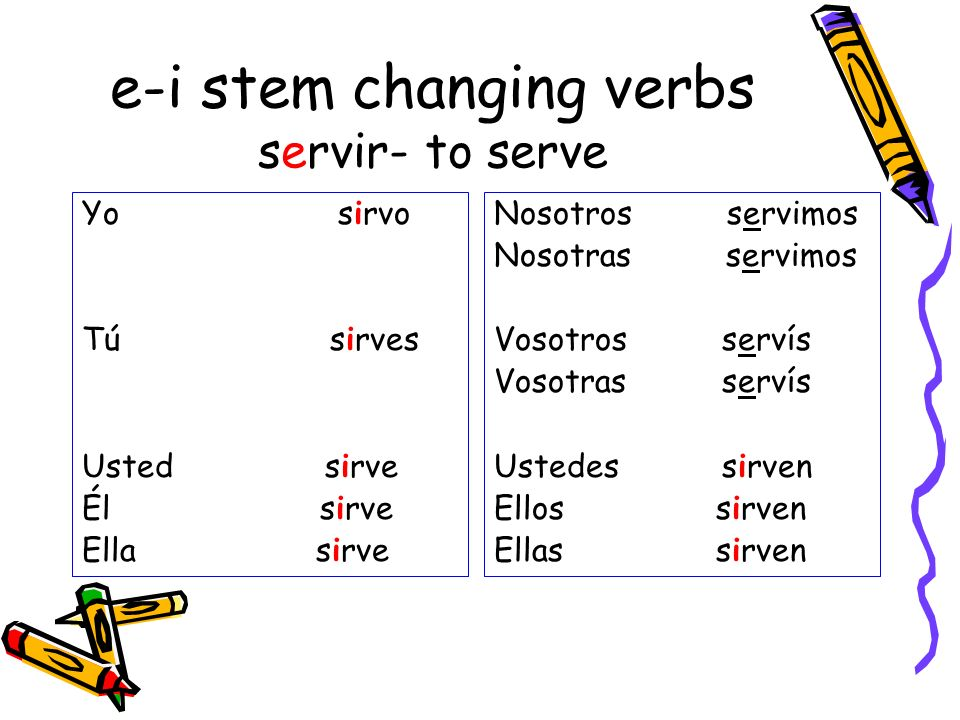 e-i stem changing verbs servir- to serve