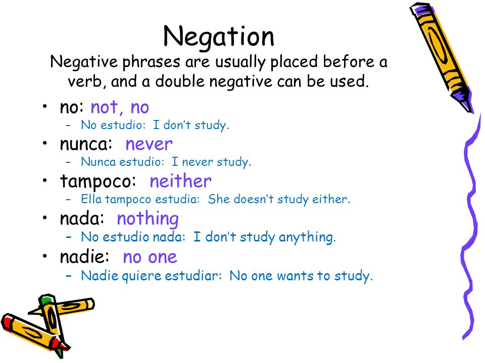 Negation Negative phrases are usually placed before a verb, and a double negative can be used.