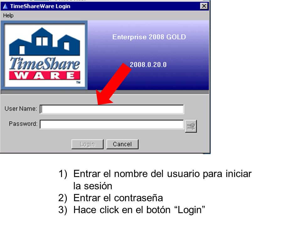 Entrar el nombre del usuario para iniciar la sesión