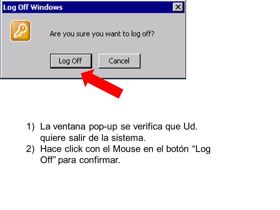 La ventana pop-up se verifica que Ud. quiere salir de la sistema.