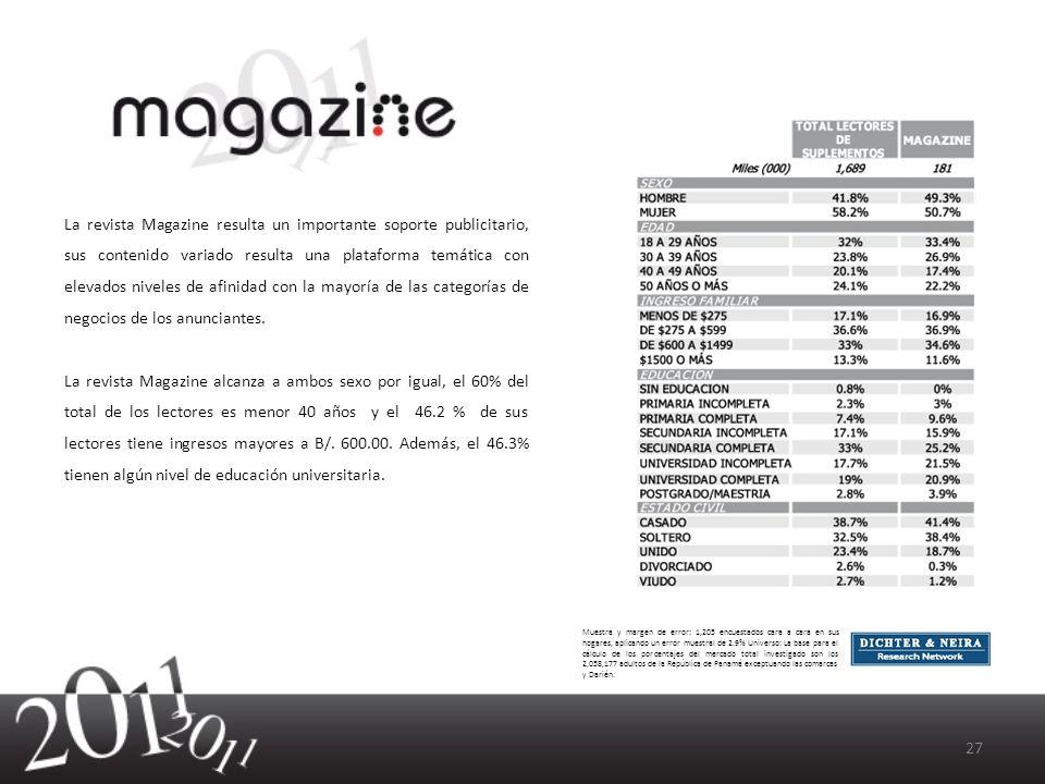 La revista Magazine resulta un importante soporte publicitario, sus contenido variado resulta una plataforma temática con elevados niveles de afinidad con la mayoría de las categorías de negocios de los anunciantes.