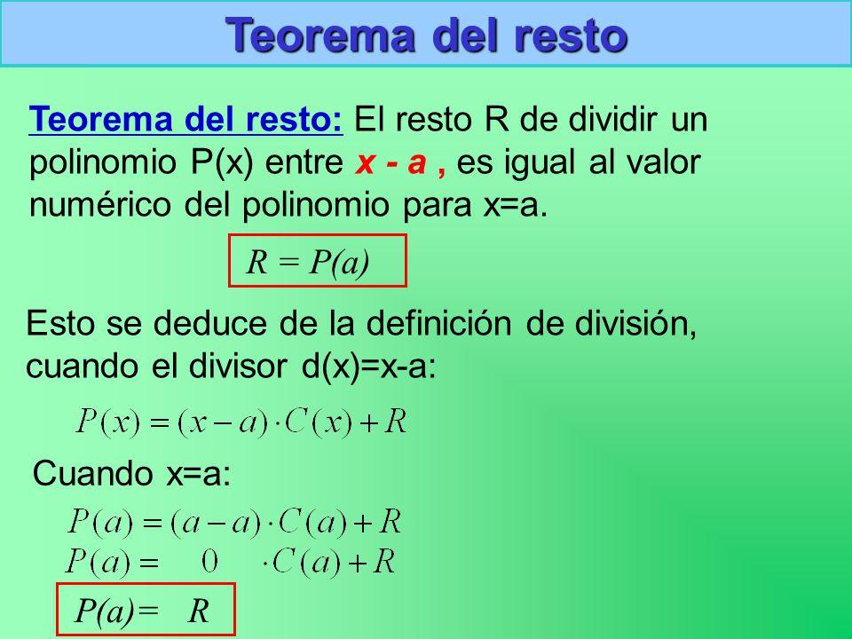 Teorema del resto Teorema del resto: El resto R de dividir un polinomio P(x) entre x - a , es igual al valor numérico del polinomio para x=a.