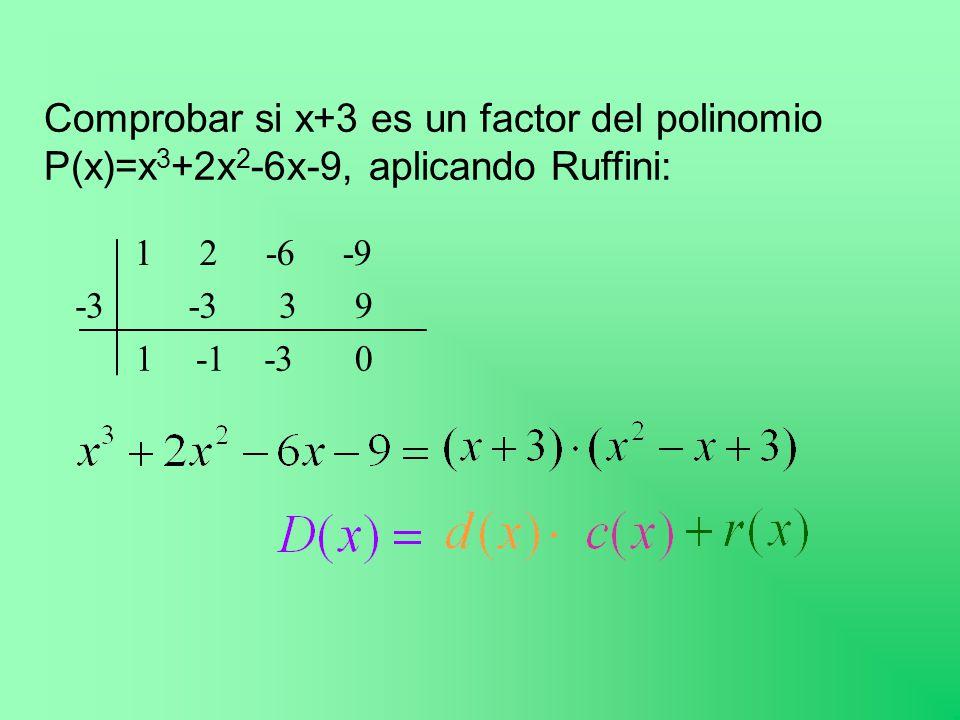 Comprobar si x+3 es un factor del polinomio P(x)=x3+2x2-6x-9, aplicando Ruffini: